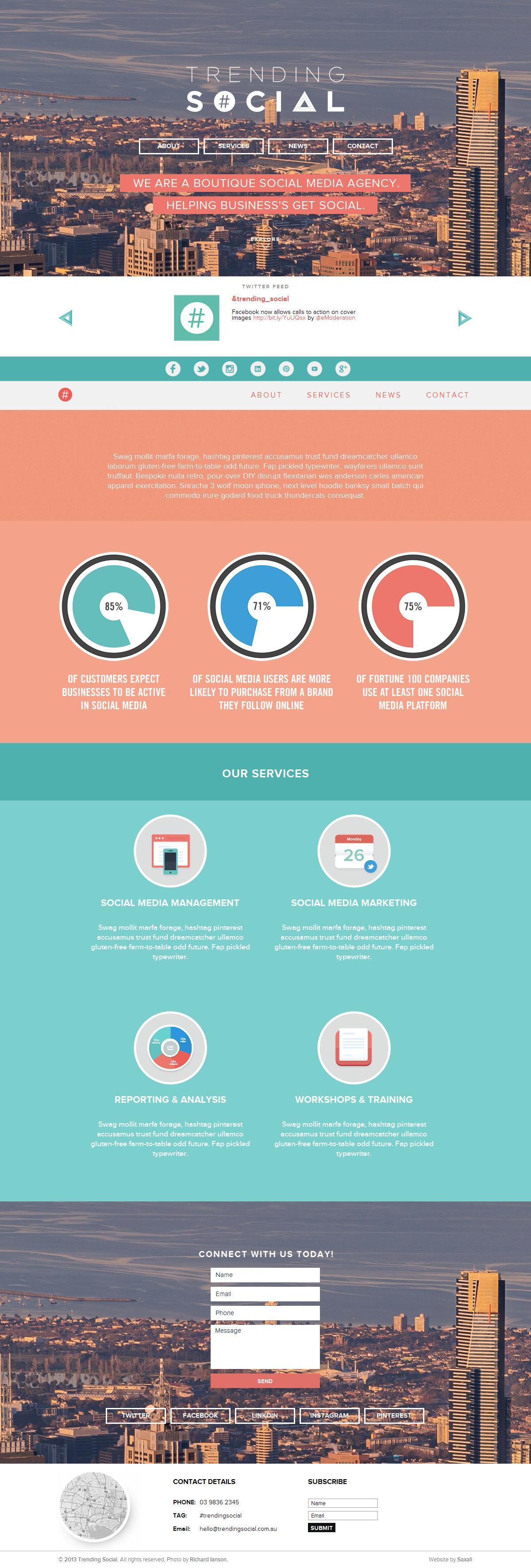 PSD to HTML - Trending Social